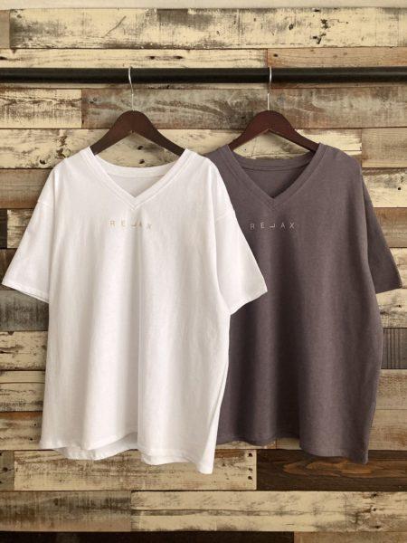 強撚コットンティックプリントTシャツ