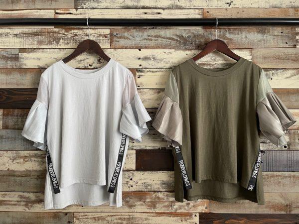 袖フリルテープリボンTシャツ