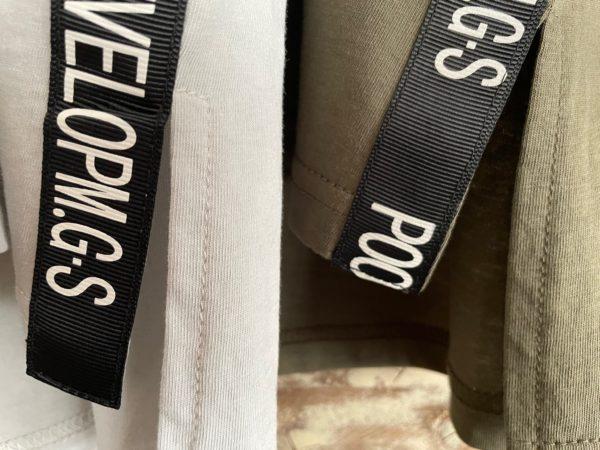 袖フリルテープリボンTシャツ/テープリボンアップ