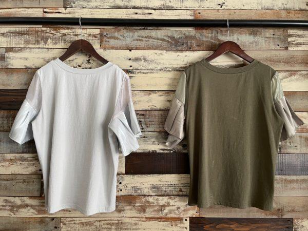 袖フリルテープリボンTシャツ/バックシルエット