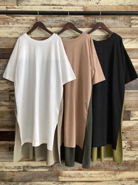 『バックタックサイドスリットロングTシャツ』フロント/OSMOSIS(オズモーシス)