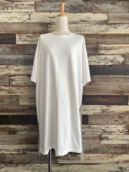 『バックタックサイドスリットロングTシャツ』フロント/OSMOSIS(オズモーシス)/ホワイト