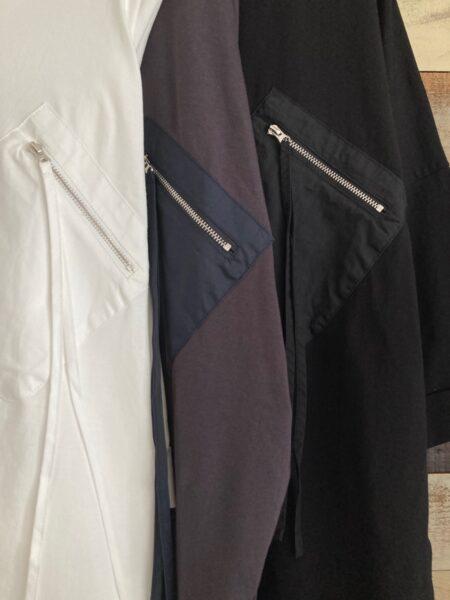 ジップポケットドルマンTシャツ/カラーアップ
