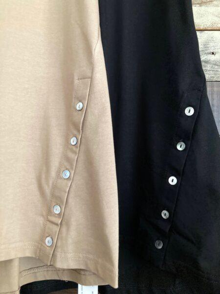 サイドボタンロングTシャツ/ボタンアップ